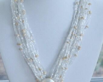On sale Beautiful Vintage Iridescent Shell Pendant Necklace, Multi-Strand, Glass Beaded