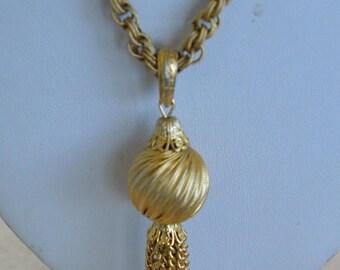 "ON SALE Pretty Vintage Brushed Gold tone Tassel Necklace, 24"" (H1)"