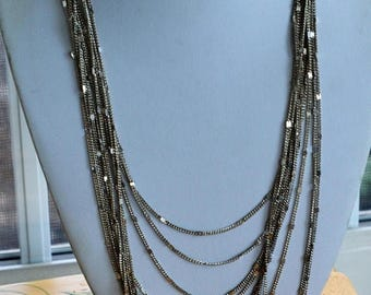 "ON SALE Silver tone Layered Multi-Strand Chain Necklace, Vintage, 20""21"", ""Express"""