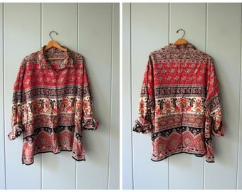 Vintage 90s Indian Blouse Cotton Gauze OVERSIZED Hippie Boho Ethnic Festival Blouse Slouchy Tribal Blouse Loose Fit Button Up Womens 3XL