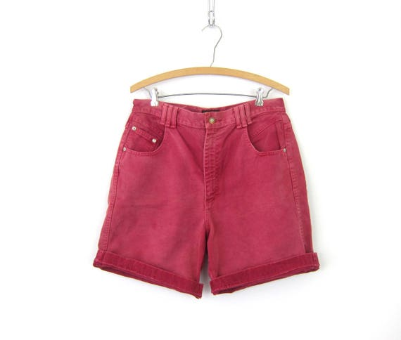 1980s RED Jean Shorts High Waist Denim Shorts Dyed Roll Up Cuffs Hipster Indie High Rise MOM Jeans Shorts GS Womens Size 12 Large