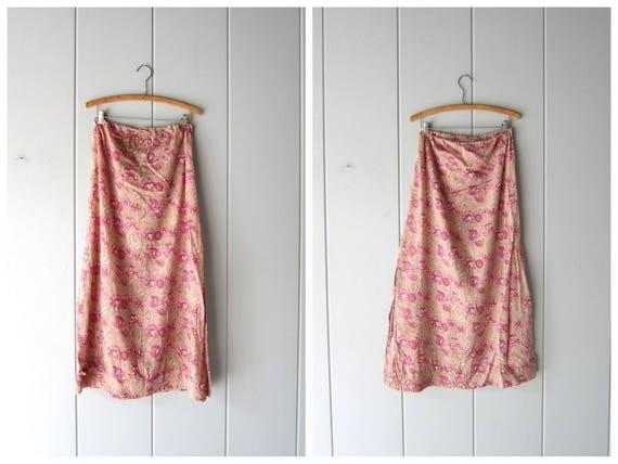 Indian Skirt Cotton Gauze Skirt Pink Floral Maxi Skirt Block Print Skirt High Slit Indian Skirt Long Boho Summer Skirt Womens Medium