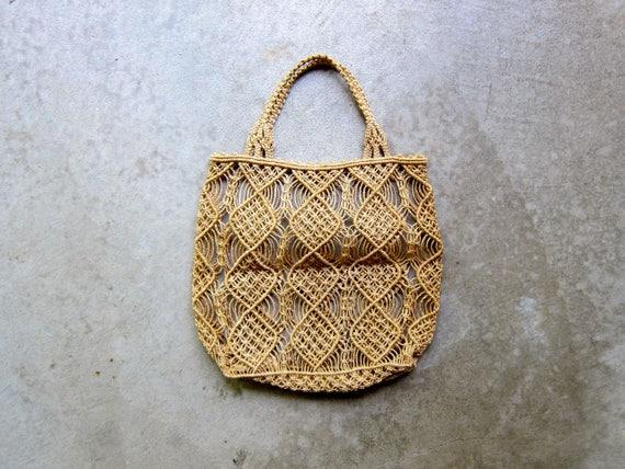 70s Macrame Tote Bag Woven Jute Market Bag Small Beach Bag Fruit Bag Farmer Cottage Shoulder Bag Vintage Woven Tote