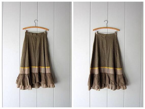 Vintage 70s Midi Skirt w/ Pockets Patchwork Ruffle Skirt High Waist Boho Gypsy Steampunk Skirt Vintage Olive Green Fall Skirt Womens XS