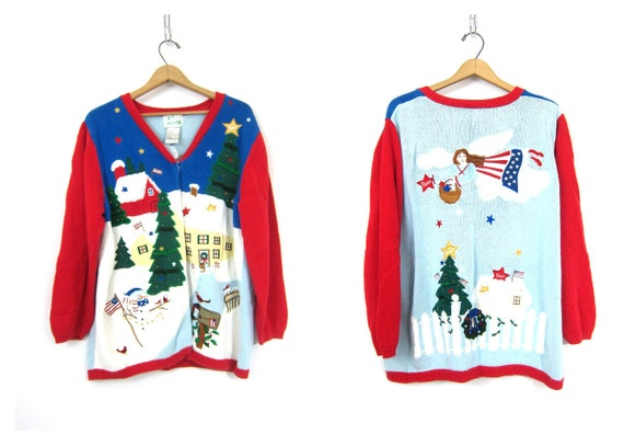 Ugly Christmas sweater vintage USA Flag & Angels Cardigan Sweater Long Ice Skating sweater Red and Blue Tacky Party Sweater women's 1X