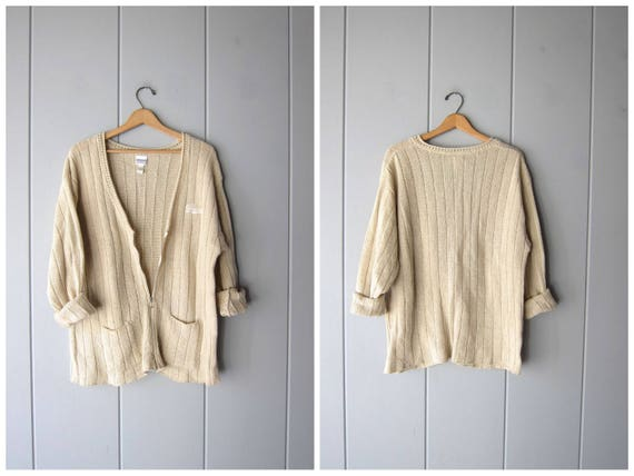 80s GUESS Sweater Oversized Zip Up Cardigan Sweater Vintage Preppy Ribbed Cardigan Minimal Sporty Fall Slouchy Sweater Pockets Women OSFA