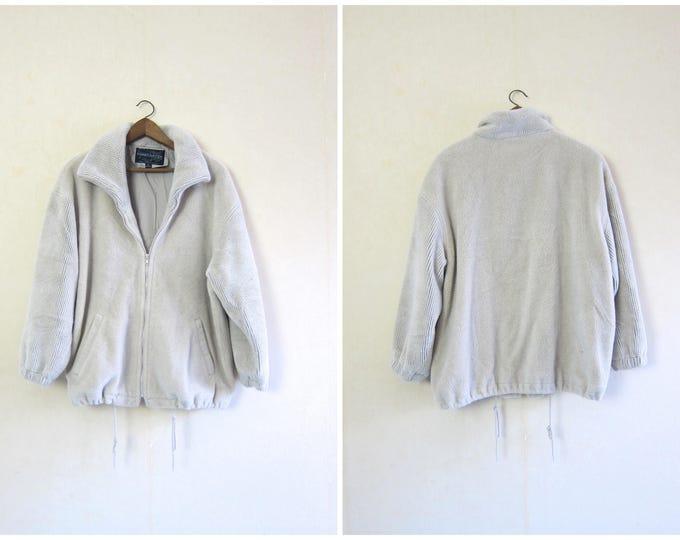Oversized Fleece Jacket Soft Furry Jacket 80s Zip Up Plush Coat Off White Blanket Coat Minimal Oversized Ski Sweater Coat Womens Large