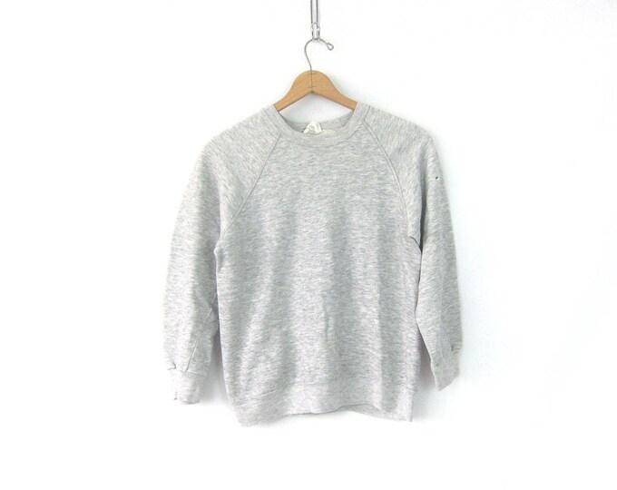 Heather Gray Sweatshirt Distressed Basic Sporty Plain Raglan Shirt 80s Thin Prep Workout Worn In top Vintage Size Medium Large