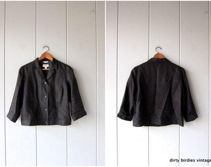 90s Linen Button Up Crop Shirt Jacket Quarter Sleeve Top Cropped Linen Blazer Minimal Light Dress Coat Spring Vintage Womens 10 Medium