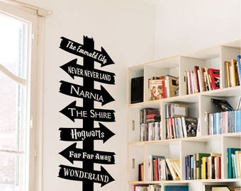 Library Storybook Destination Sign Vinyl Wall Art Decal For School Classrooms & Libraries. Removable Vinyl Educational Decals For Teachers