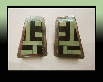 Modern MOSAIC, Sterling,/Gaspeite/Onyx Inlay Earrings, Green and Black Abstracts, Native American, Designer Signed, Vintage Jewelry, Women