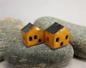 READY TO SHIP...Miniature Terracotta House Beads...Set of 2...Yellow Walls/Black Roof