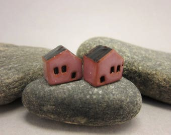 READY TO SHIP...Miniature Terracotta House Beads...Set of 2...Dark Pink Walls/Black Roof