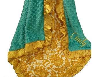SALE Teal and Gold Damask Minky Swaddle Baby Blanket, Mustard Yellow Minky Blanket