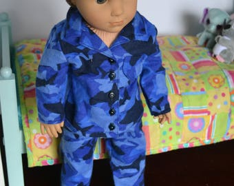 18 inch Doll Clothes - Shark Attack Pajamas - Flannel PJs - BLUE BLACK - for boy or girl doll - fits American Girl