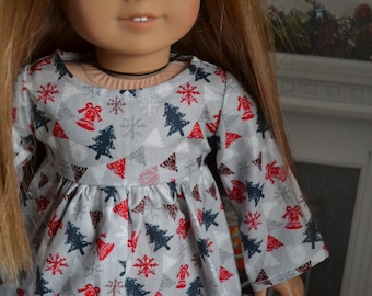 18 inch Doll Clothes - Silver Holiday Charm Swing Dress - GRAY RED BLUE - Christmas Winter - fits American Girl