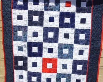 Red, white, and blue square-in-square crib or lap quilt