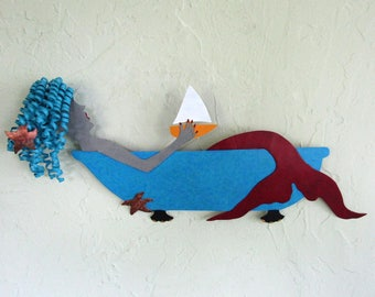 Metal Wall Mermaid Art Sculpture Bathtub Mermaid Wall Decor Sailboat Recycled Metal Red Turquoise Yellow Whimsical Wall bath Decor 8 x 21