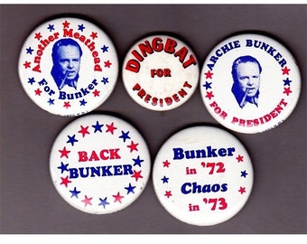 Lot of 5 Orig 1970s TV Show ARCHIE BUNKER Pins Pinbacks