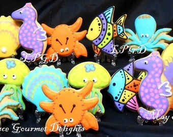 Sea Life Cookies - Under the Sea Cookies - Octopus - Jelly Fish - Crab - Seahorse - Favors - 14 Cookies