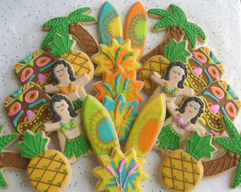 Deluxe Luau Party Cookies - Luau Cookie Favors - 12 Cookies