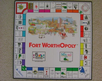 Vintage 1992 Fort WorthOpoly Fort Worth Texas Gameboard Board Only Fort Worth Collectible Wall Art