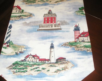 Waverly Story Time Land-Ho Nautical, Cape Cod Coast, Nantucket, Coastal Lighthouse Cotton Table Runner by ThemeRunners