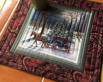 Moda Town Square Horse Drawn Carriage Winter print Mug Rug, Over-sized Coaster / quilt shop / quilted / snow / pine trees / paisley / man