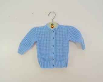 Vintage BABY SWEATER blue handmade baby boy