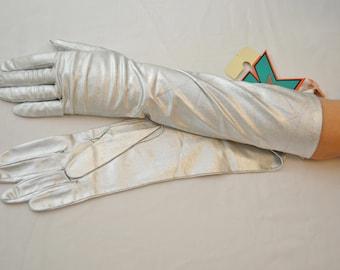 on sale Vintage SILVER Ladies Mid-Length Dress Gloves Miss K NWT