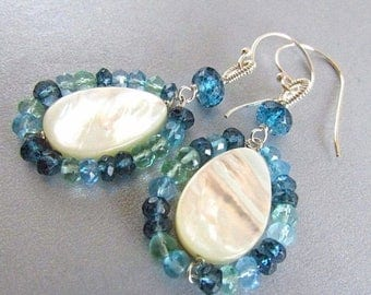 25 OFF Mother Of Pearl, With Apatite and London Blue Quartz Sterling Silver Earrings