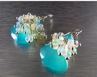 25 OFF Peru Blue Chalcedony and Ethiopian Opal Sterling Silver Cluster Earrings