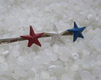 wonderful vintage barrettes, hair pin , bobby pins trio of stars, red white blue, patriotic