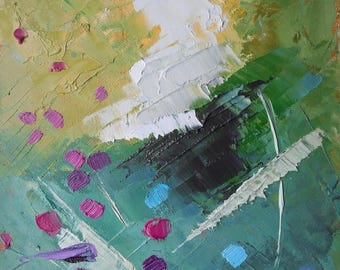 """Small Abstract Painting, Small Oil Painting, Daily Painting, Summer Dance 6x8"""" Original on Panel"""