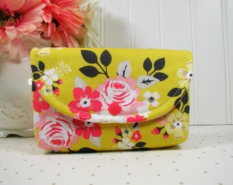 Snap Pouch, Large Snap Pouch, Cosmetic Pouch, Accessory Pouch...Vintage Daydream Main in Gold