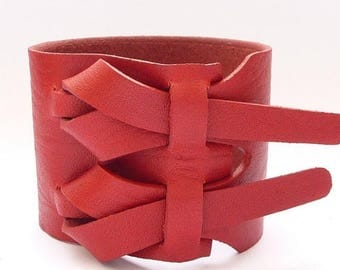 On Sale Double Cuff in Red by Muse 2 inches / Free shipping