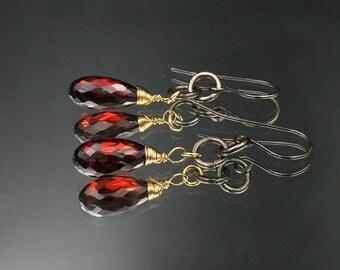 Garnet Earrings Red Gemstone Earring Mixed Metal Earrings Wire Wrapped 14kt Gold Fill Oxidized Silver Chain Dangle January Birthstone