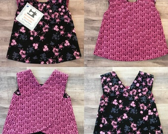 Mickey Mouse Floral Reversible Crossover Pinafore Dress - Baby Girl - Black Pink
