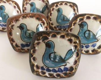 Six Vintage Tonala Ken Edwards Mexico Ceramic Drawer Pulls Knobs Bird Signed Square