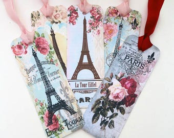 Bookmark,Paris Eiffel Tower, Book Club Favor,Vintage Retro Bookmark,Paper Roses Bookmark,Book Lover,Tea Party Bon Voyage Favor,French Favour