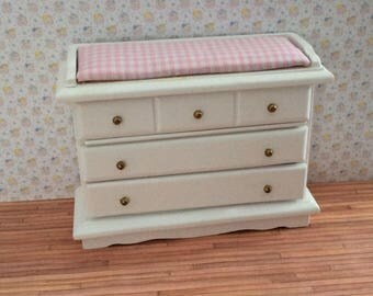 Miniature One inch scale pink/white changing chest for the Nursery in the dollhouse