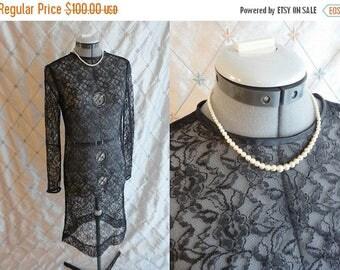 ON SALE 60s Dress // Vintage 1960s Black Lace See Through Dress with Satin Trim Size M