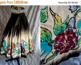 "ON SALE 50s Mexican Circle Skirt //  Vintage 1950's Mocambo Mexican Sequinned Handpainted Circle Skirt Floral Print Sz M 24-28"" waist"