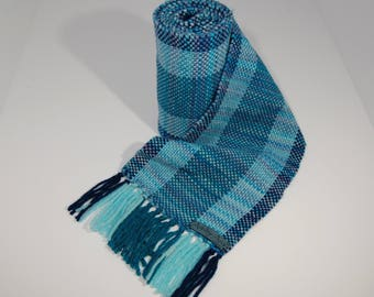 Hand Woven Wool Scarf in shades of blue