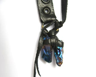 Leather crystal pendant, talisman necklace series, Sister Sister: by Renegade Icon designs