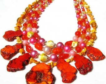 CLEARANCE Tropical vintage beads with orange turquoise nuggets necklace