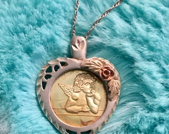 Vintage guardian angel Fine silver 999fs necklace