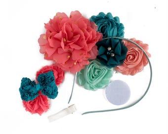 Felicity : Coral + Teal DIY DELUXE Headband + Hair Clip Kit  |  Chiffon Flower FOE Fold Over Elastic | Princess Parties & Birthdays