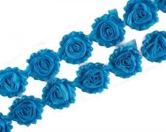 "Turquoise Blue : 14 Flowers  | 2.5"" Chiffon Craft Roses for Headband DIY Kits 