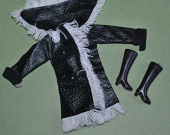 Maddie Mod Doll Black Pleather Fringed Coat and Matching Boots Plus White Hat